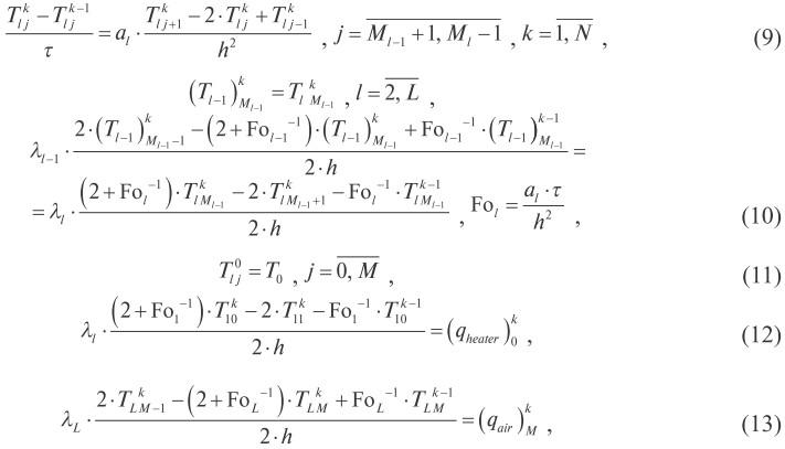 j = M. Разностная схема